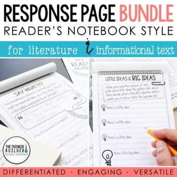 BUNDLE: Reader's Notebook Response Pages *FULL-PAGE SET*