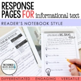 Reading Response Pages for Informational Text *FULL-PAGE SET*