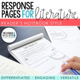 Reading Response Pages for Literature *FULL-PAGE SET*