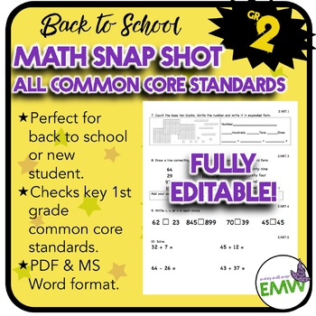 Common Core Math Assessment - Gr 2 Back to School Snapshot -  Editable