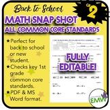 Common Core Math Assessment - Gr 2 Back to School Snapshot -  Editable