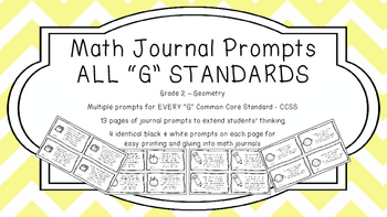 Gr 2 Math Journal Prompts/Topic Common Core B&W G Geometry