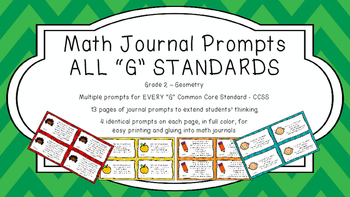 Gr 2 Math Journal Prompts/Topic Common Core COLOR G Geomet