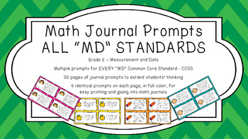 Gr 2 Math Journal Prompts/Topic Common Core COLOR MD Measu