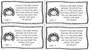 Gr 2 Math Journal Prompts/Topic Florida Standards B&W NBT Number Base Ten MAFS