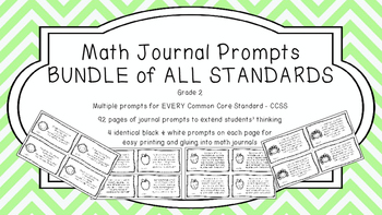 Gr 2 Math Journal Prompts/Topics Common Core B&W EVERY STA