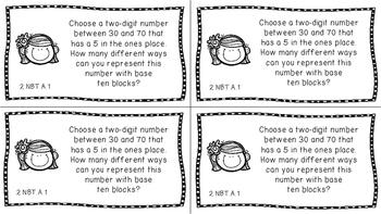 Gr 2 Math Journal Prompts/Topics Common Core B&W NBT Number Base Ten CCSS CC