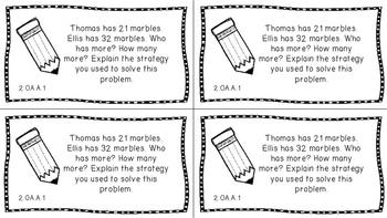 Gr 2 Math Journal Prompts/Topics Common Core B&W OA Algebraic Thinking CCSS CC