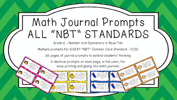 Gr 2 Math Journal Prompts/Topics Common Core COLOR NBT Num