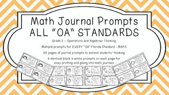 Gr 2 Math Journal Prompts/Topics Florida Standard B&W OA A