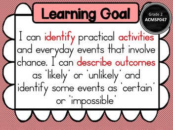 Gr 2 Maths  Statistics & Probability Learning Goals & success criteria posters