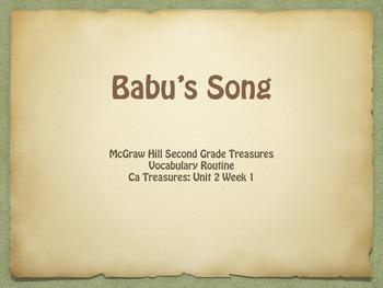 Gr. 2 McGraw Hill Treasures: Babu's Song Vocabulary Presentation
