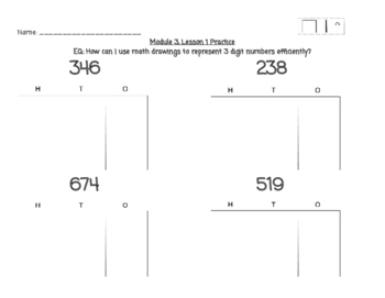 Gr 2, Mod 3 - Lesson 1 Practice - EngageNY/Eureka Math Modules (HTO Place Value)