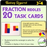 Fraction Task Cards Using riddles to build fraction arrays
