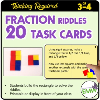 Fraction Riddle Task Cards to build fraction arrays Common