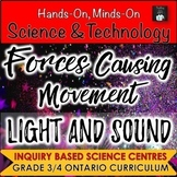 ONTARIO SCIENCE. 3/4 FORCES CAUSING MOVEMENT AND LIGHT & SOUND BUNDLE
