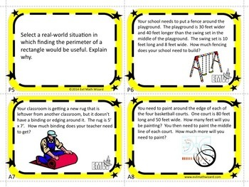 Perimeter Task Cards - Real Life & Applicable for Grades 3-5