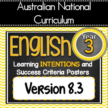 Version 8.3 - Grade 3 - All English Learning INTENTIONS & Success Criteria!