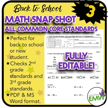 Common Core Math Assessment - Gr 3 Back to School Snapshot -  Editable
