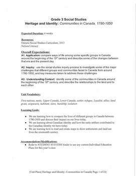 Gr. 3 COMPLETE unit: Heritage and Identity Communities in Canada 1780-1850