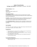 Gr. 3 COMPLETE unit: Heritage and Identity Communities in
