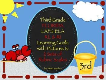 Gr 3 LAFS RL & RI Goals 2 Sets of Rubrics, Graphics & Self