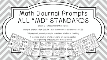 Gr 3 Math Journal Prompts/Topic Common Core B&W MD Measure