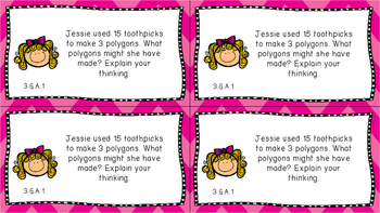Gr 3 Math Journal Prompts/Topic Common Core COLOR G Geometry Shapes CCSS CC