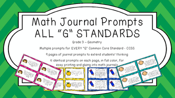 Gr 3 Math Journal Prompts/Topic Common Core COLOR G Geomet