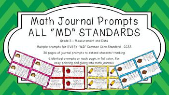 Gr 3 Math Journal Prompts/Topic Common Core COLOR MD Measurement Data CCSS CC