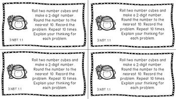 Gr 3 Math Journal Prompts/Topic Florida Standards B&W NBT Number Base Ten MAFS