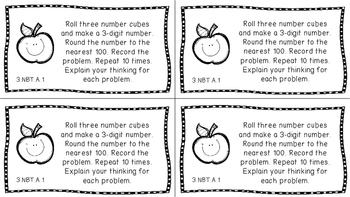 Gr 3 Math Journal Prompts/Topics Common Core B&W NBT Number Base Ten CCSS CC