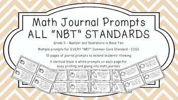 Gr 3 Math Journal Prompts/Topics Common Core B&W NBT Numbe