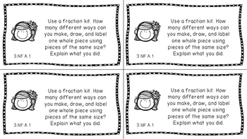 Gr 3 Math Journal Prompts/Topics Common Core B&W NF Number Operations Fractions