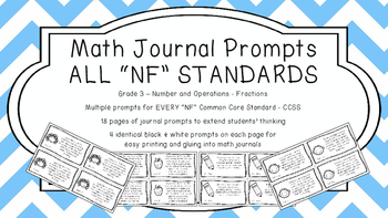 Gr 3 Math Journal Prompts/Topics Common Core B&W NF Number