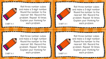 Gr 3 Math Journal Prompts/Topics Common Core COLOR NBT Number Base Ten CCSS CC