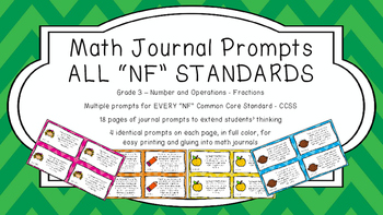 Gr 3 Math Journal Prompts/Topics Common Core COLOR NF Number Operations Fraction