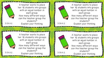 Gr 3 Math Journal Prompts/Topics Common Core COLOR OA Op. Algebraic Thinking CC