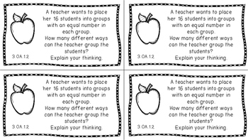Gr 3 Math Journal Prompts/Topic Florida Standards B&W OA Algebraic Thinking MAFS