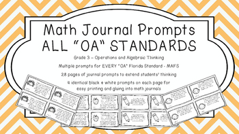 Gr 3 Math Journal Prompts/Topic Florida Standards B&W OA A