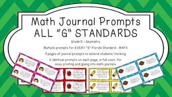 Gr 3 Math Journal Prompts/Topics Florida Standards COLOR Geometry Shapes MAFS