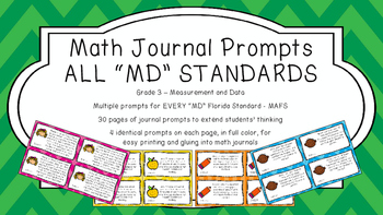 Gr 3 Math Journal Prompts/Topic Florida Standards COLOR MD Measurement Data MAFS