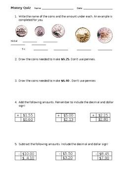 Gr. 3 Money Quiz