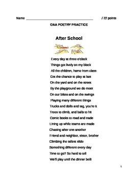 Gr. 3 Ohio Achievement Practice (OAA) for Poetry