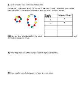 Gr. 3 Patterning Quiz