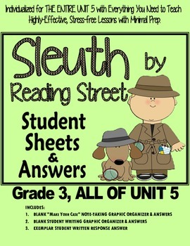 Gr. 3, Reading Street, Sleuth Lesson Plans & Student Sheets for all of Unit 5
