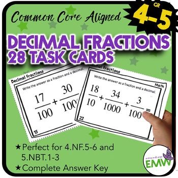 Adding Decimals Fractions Task Cards Common Core Aligned