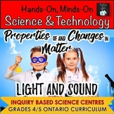 ONTARIO SCIENCE: GRADES 4/5 LIGHT & SOUND AND CHANGES IN MATTER CENTRES BUNDLE