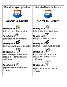 Gr. 4-6 'Avant la Lecture (Pre-Reading)' Bookmarks