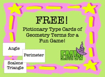 Gr 4-6: Free! Pictionary-type Cards with Geometry Terms